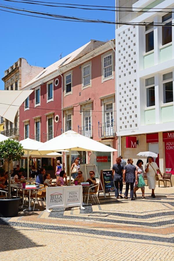Кафа мостоваой центра города, Faro стоковая фотография