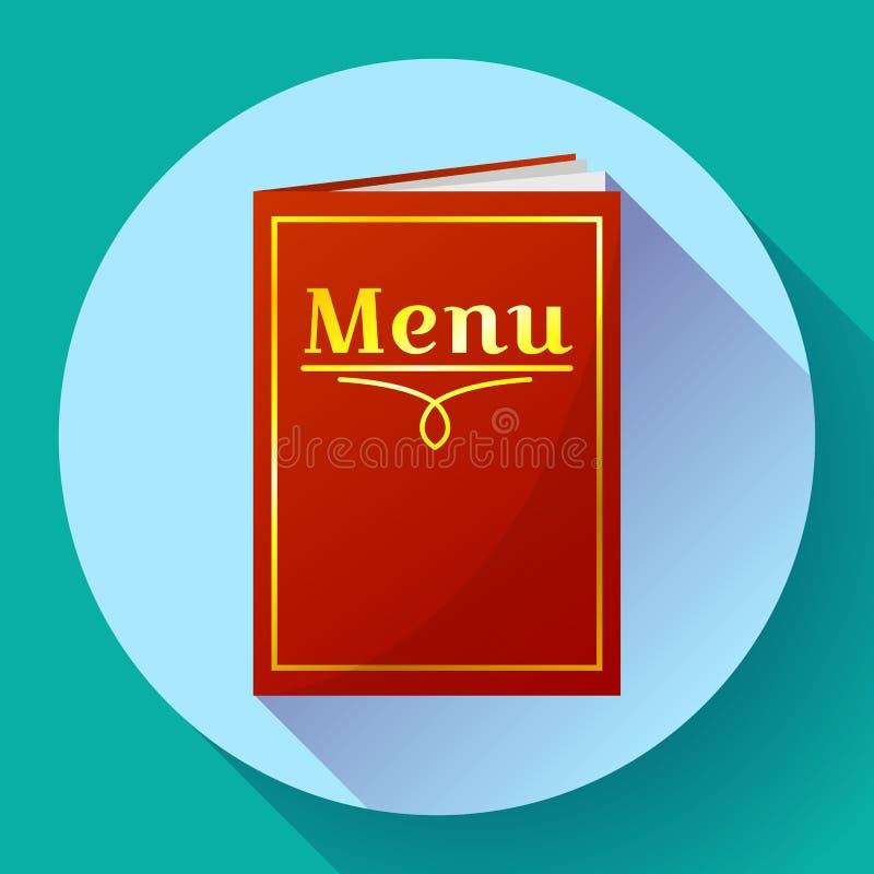 Кафе, значок книги меню ресторана красный в плоском стиле иллюстрация вектора