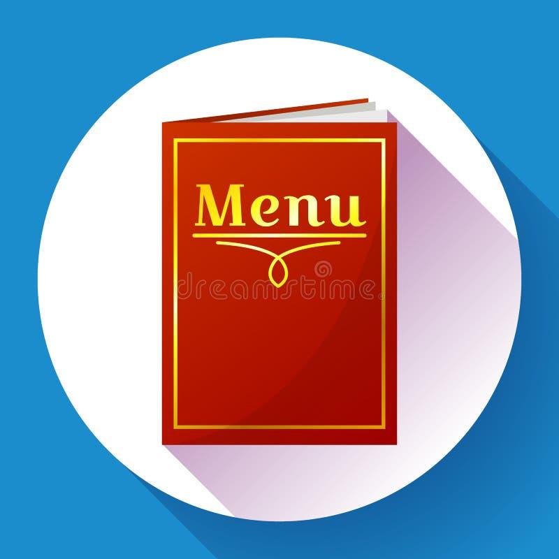 Кафе, значок книги меню ресторана красный в плоском стиле бесплатная иллюстрация