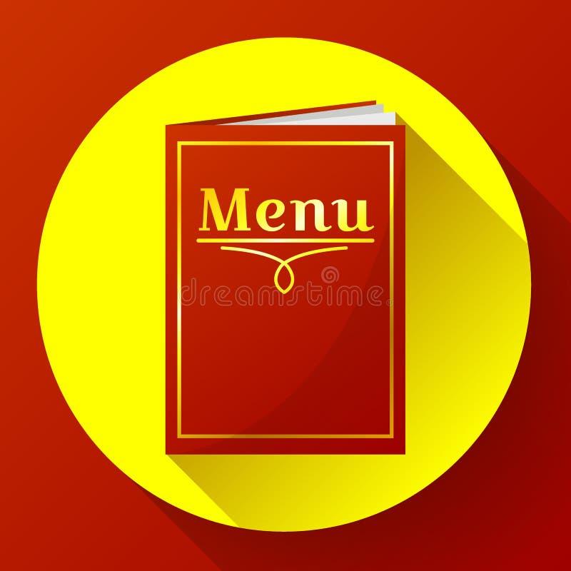 Кафе, значок книги меню ресторана красный в плоском стиле иллюстрация штока