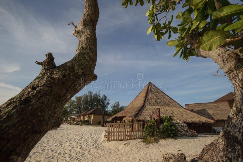Кафе и resterant на тропическом пляже - путешествуйте предпосылка стоковые изображения