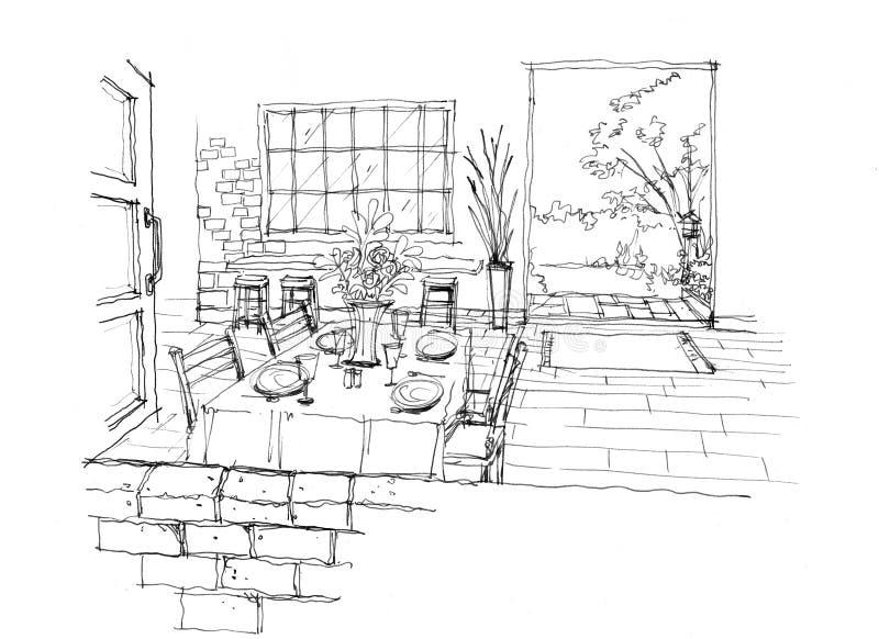 Кафе, кофейня с кирпичной стеной Винтажное inte украшения стиля иллюстрация вектора