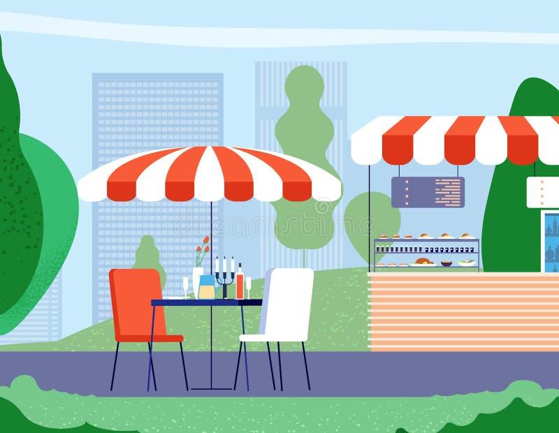 Кафе лета на открытом воздухе Пустые таблица и кресло под зонтиком в кафе улицы Предпосылка вектора ресторана бистро бесплатная иллюстрация