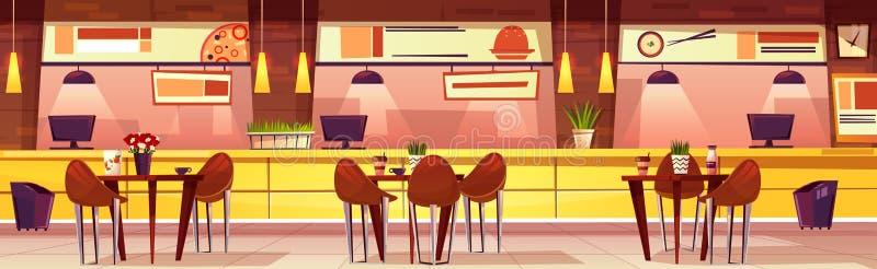 Кафе мультфильма вектора с различной кухней, предпосылкой иллюстрация вектора