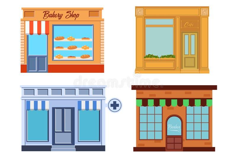 Кафе, пекарня, аптека и парикмахерская вектора современные детализировали фасад в плоском стиле также вектор иллюстрации притяжки бесплатная иллюстрация