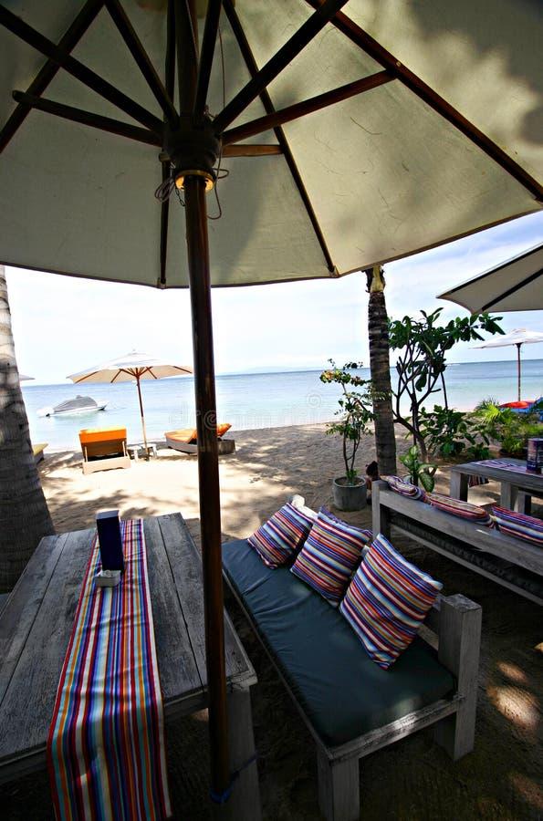 кафе пляжа bali стоковые фотографии rf