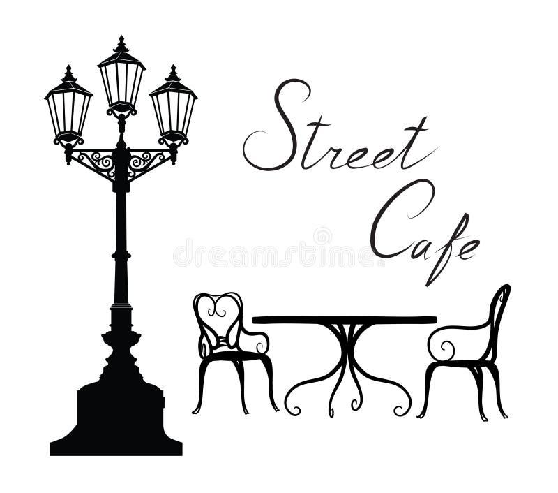 Кафе улицы - городская жизнь таблицы, стульев, уличного света и литерности иллюстрация вектора