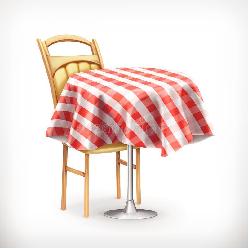 Кафе улицы с таблицей и стулом бесплатная иллюстрация