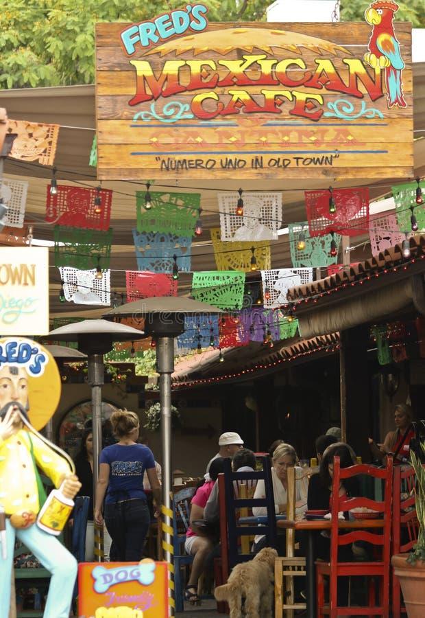 Кафе ` s Фреда мексиканское в старом городке, Сан-Диего стоковые изображения rf