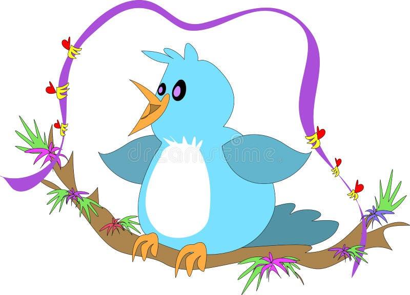 качание ветви птицы голубое иллюстрация вектора