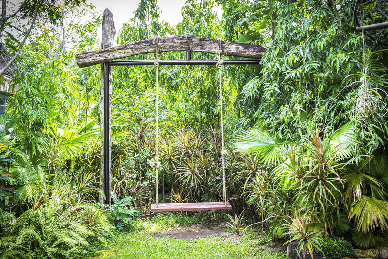 Качание в саде стоковая фотография rf