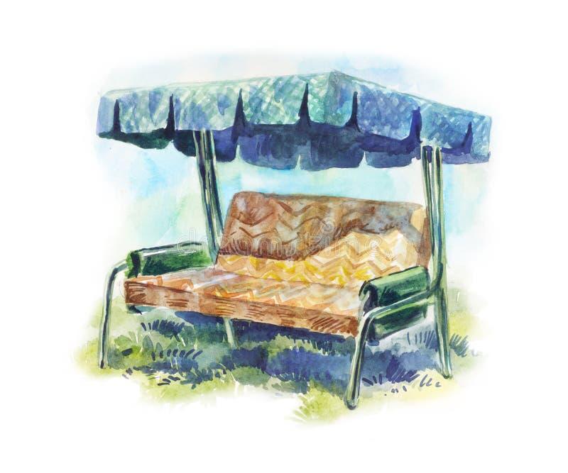 Качание сада для иллюстрации акварели остатков лета винтажной иллюстрация вектора