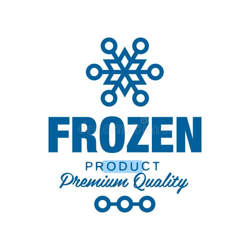 Качество замороженного продукта наградное, ярлык для замерзать с иллюстрацией вектора знака снежинки иллюстрация штока