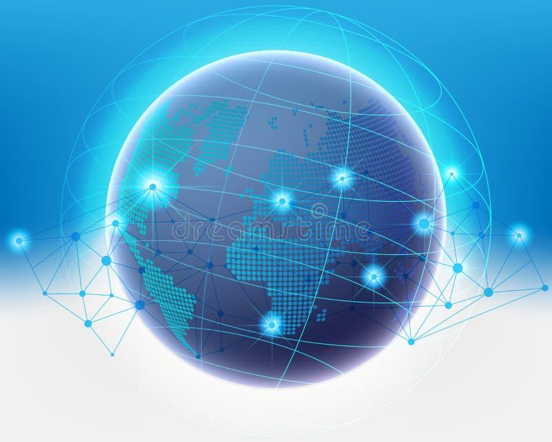 Качество информационной сети данным по облака мира Wireframe глобальное sy иллюстрация вектора