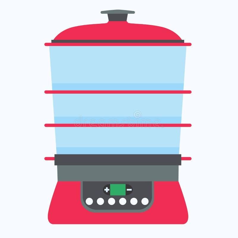 Кашевар вектора еды распаровщика варя иллюстрацию кухни изолировал пар плоского оборудования символа электрический иллюстрация штока
