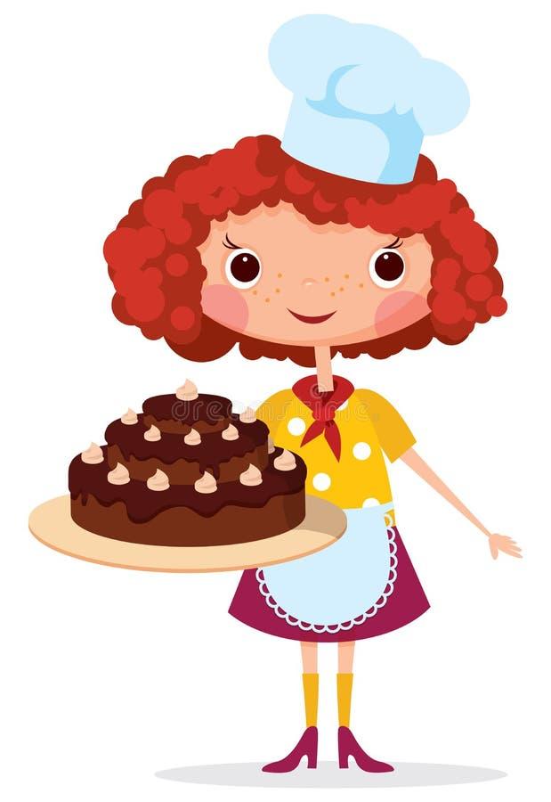 Кашевар девушки с тортом бесплатная иллюстрация