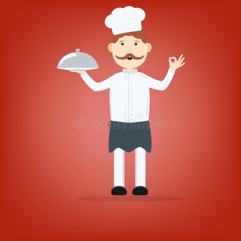 Кашевар держа блюдо на плите иллюстрация вектора