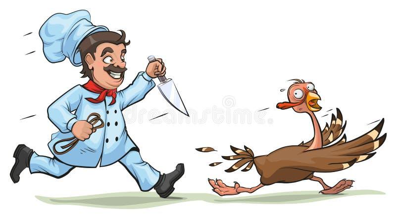Кашевар с ножом следует устрашенного индюка Концепция потехи на официальный праздник в США в память первых колонистов Массачусетс бесплатная иллюстрация