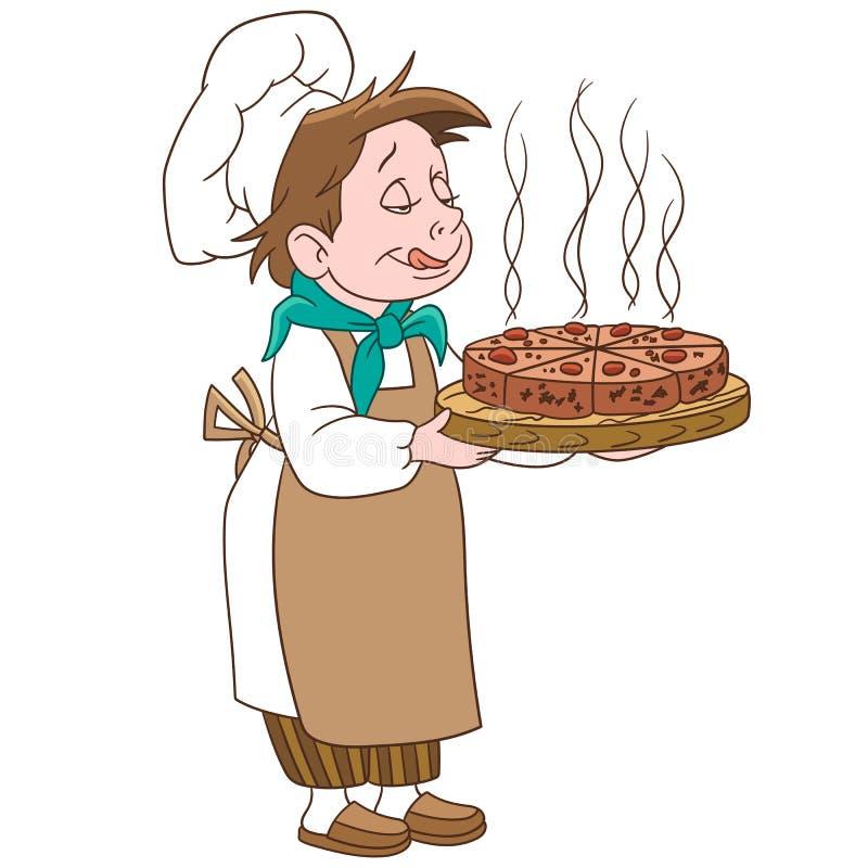 Кашевар шаржа главный с тортом или пиццей бесплатная иллюстрация