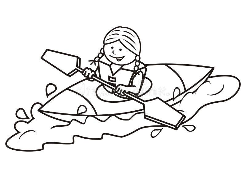 Каяк и девушка, книжка-раскраска бесплатная иллюстрация