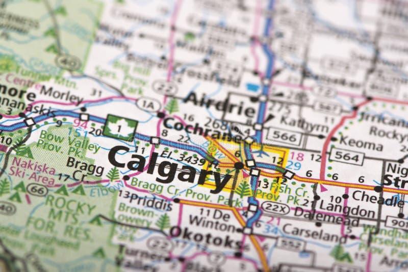 Калгари, Канада на карте стоковые изображения