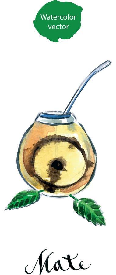 Калебас с ответной частью yerba (традиционная ответная часть чая Paraguayan) бесплатная иллюстрация