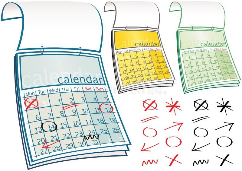календары иллюстрация вектора