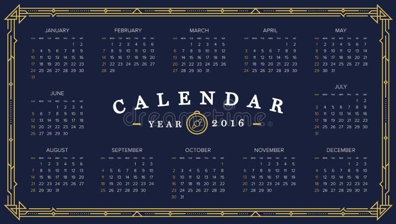 календарь 2016 Аннотация Неделя начинает от воскресенья иллюстрация вектора