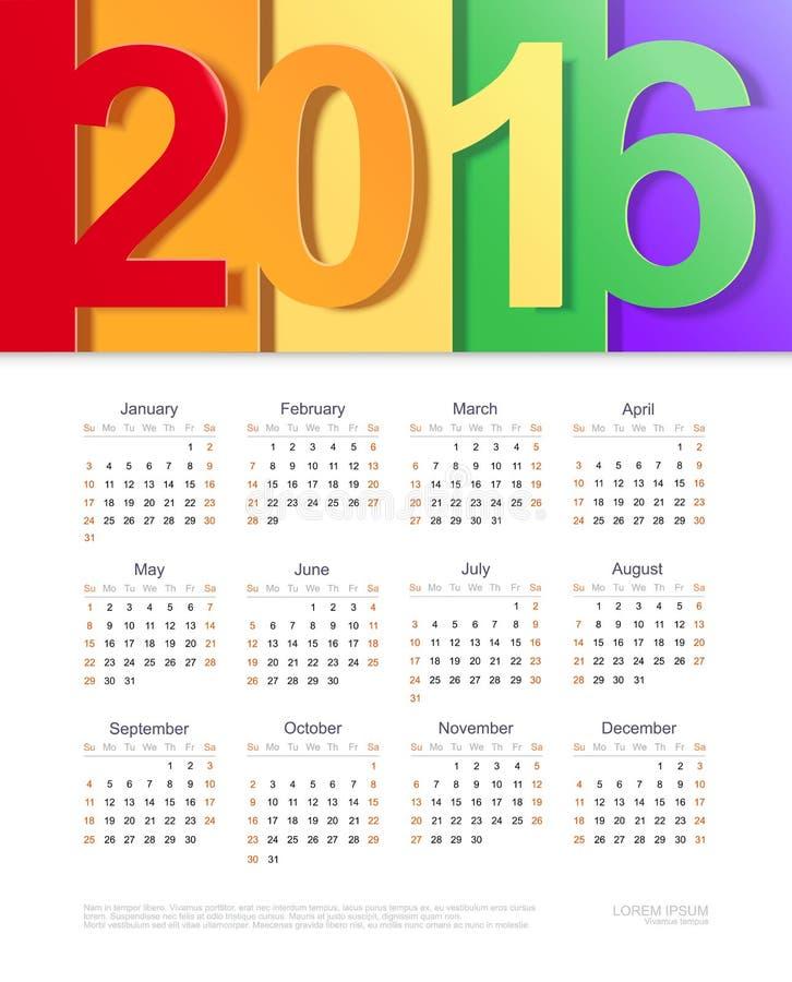 Календарь вектора 2016 дизайн шаблона иллюстрация вектора