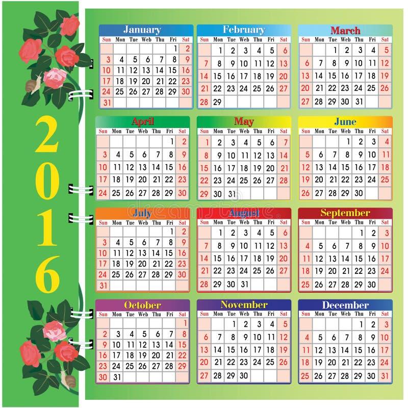 Календарь 2016 вектора с розами и улитками иллюстрация штока