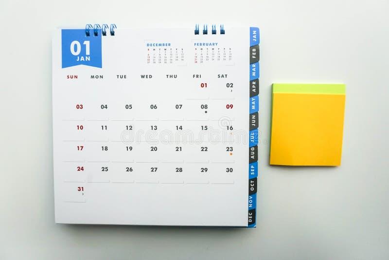 Календарь в январе с насмешкой вверх устанавливает для сообщения стоковые фото