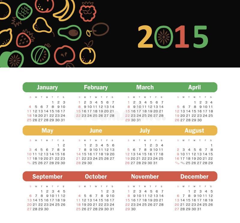 Календарь 2015 год с значками плодоовощ иллюстрация штока