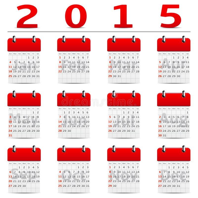 Календарь 2015 год иллюстрация вектора