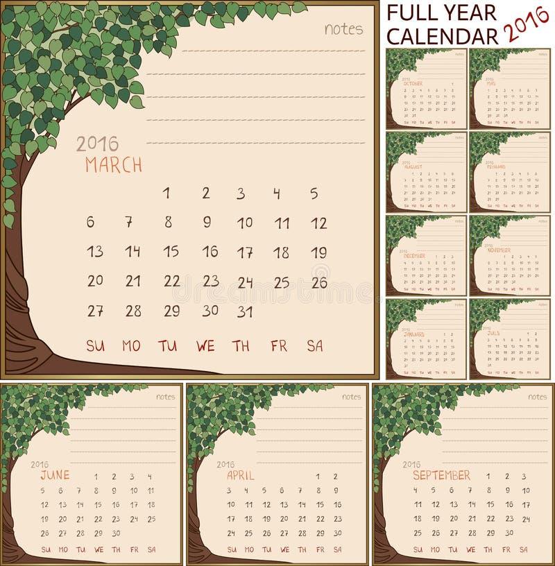 календарь 2016 год иллюстрация вектора