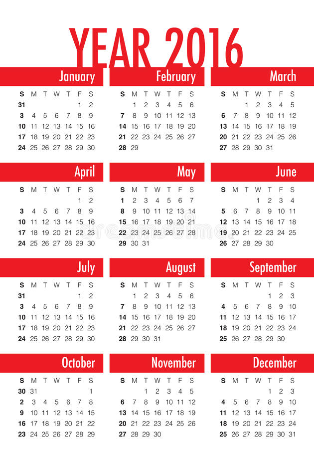 календарь 2016 год иллюстрация штока