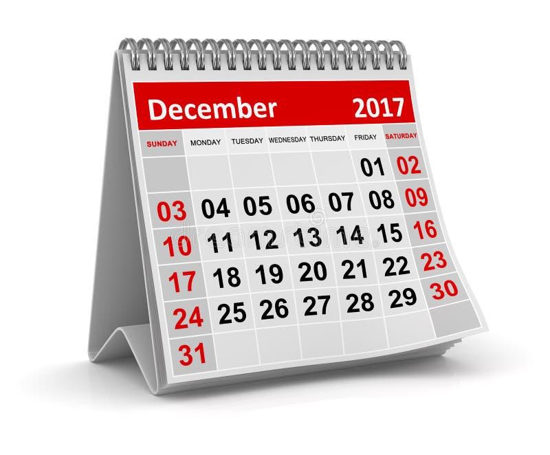 Календарь - декабрь 2017 иллюстрация штока