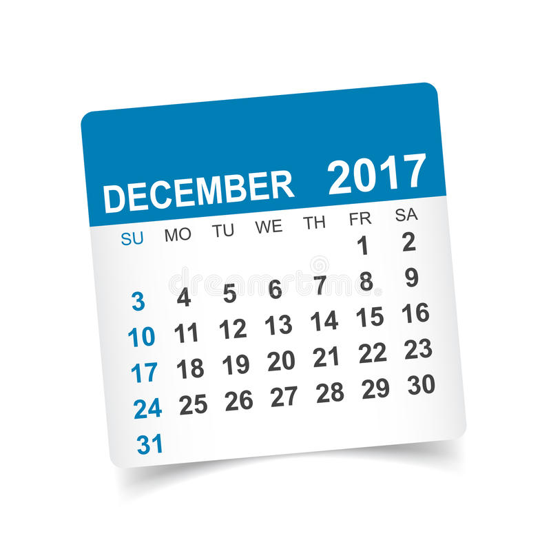 Календарь декабря 2017 иллюстрация штока