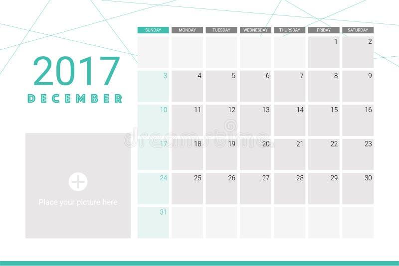 Календарь декабря 2017 иллюстрация вектора