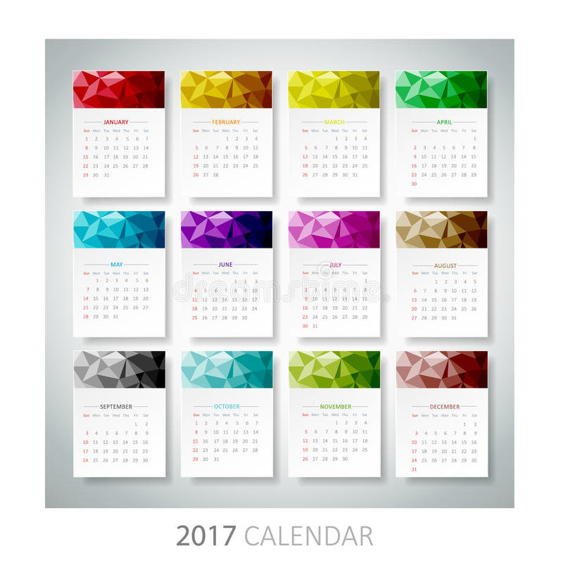 Календарь дизайна геометрический 2017 иллюстрация вектора