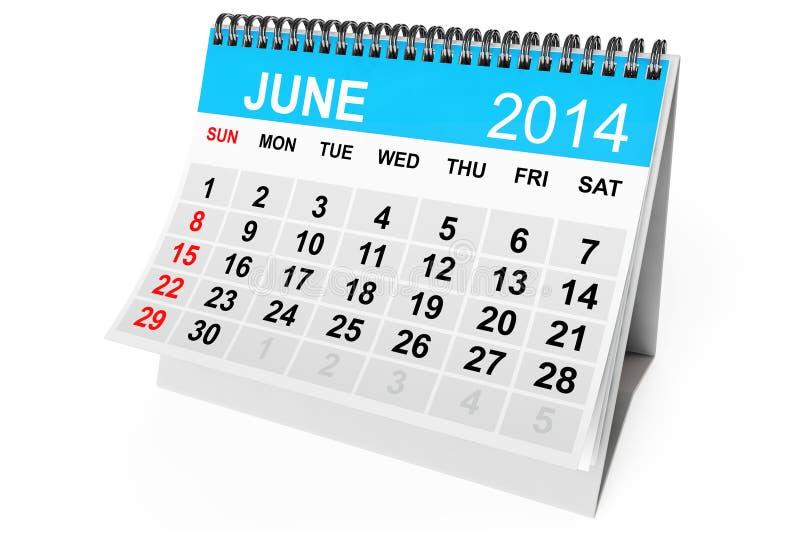Календарь июнь 2014 иллюстрация штока