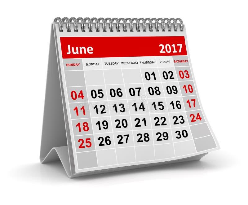 Календарь - июнь 2017 бесплатная иллюстрация