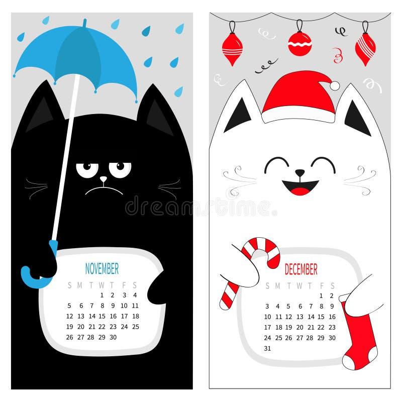 Календарь 2017 кота Милый смешной персонаж из мультфильма набор Декабре -го зимний месяц осени в ноябре иллюстрация штока