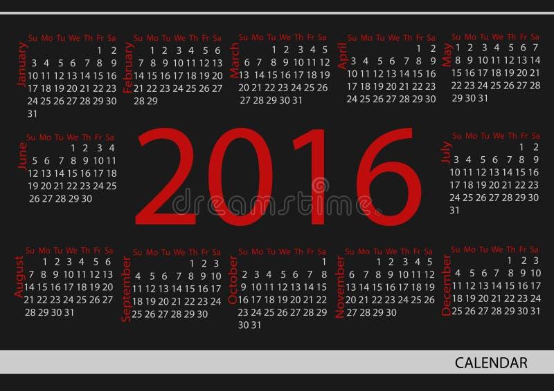 Календарь 2016 круга вектора Неделя начинает от воскресенья бесплатная иллюстрация
