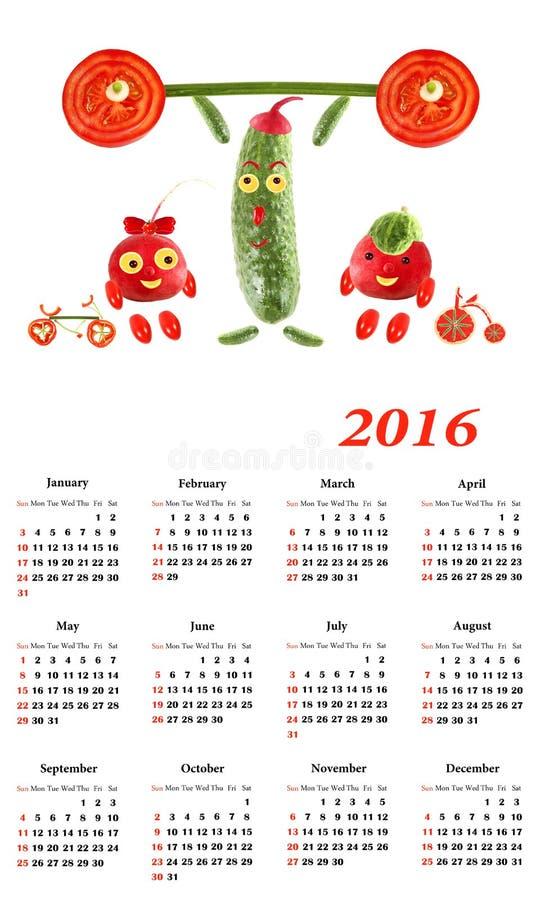 календарь 2016 Маленькие смешные люди от овощей и плодоовощей бесплатная иллюстрация