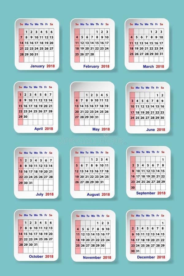 Календарь на 2018 вертикально иллюстрация штока