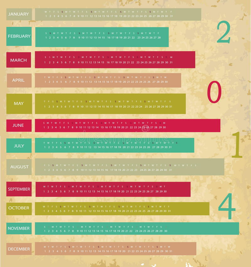 Календарь на 2014 года бесплатная иллюстрация