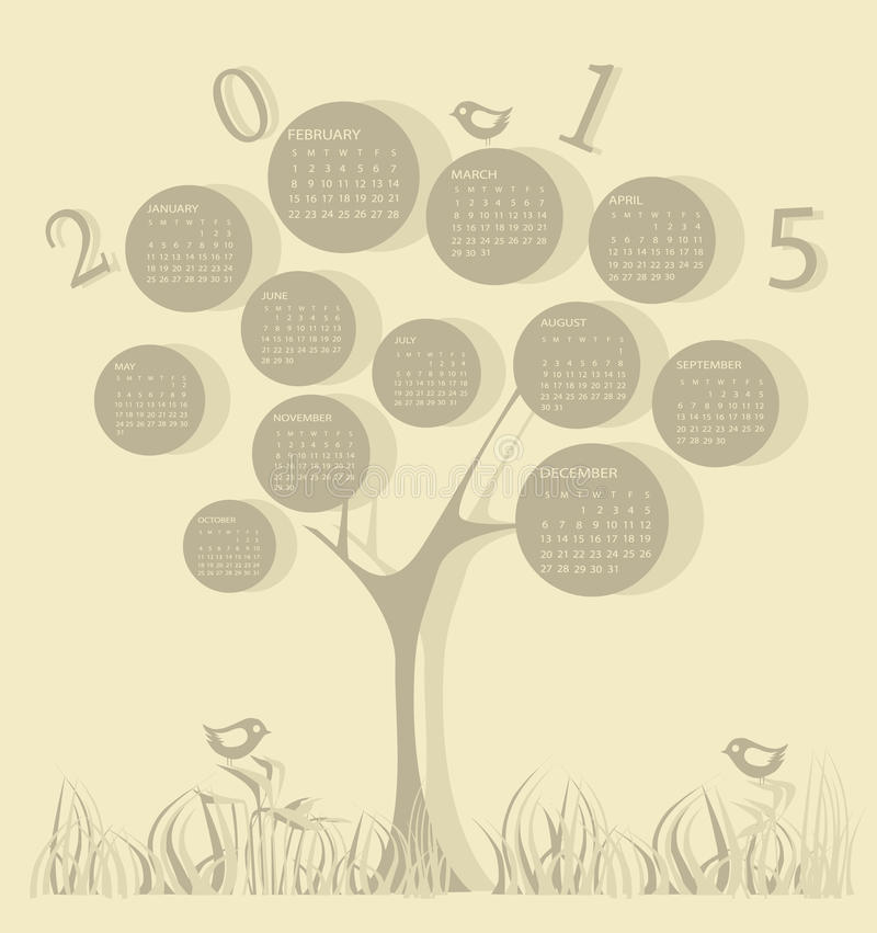 Календарь на 2015 год иллюстрация вектора