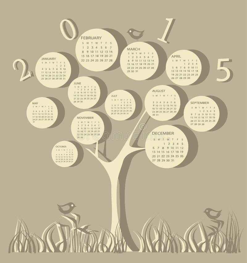 Календарь на 2015 год иллюстрация штока