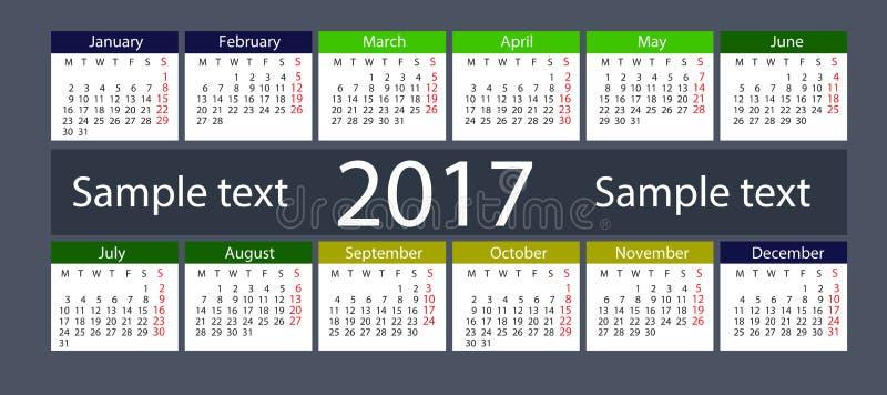 Календарь на 2017 год стоковое фото