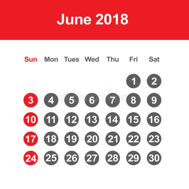 Календарь на июнь 2018 иллюстрация штока